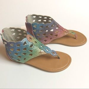 YG Cara Shoes - Rainbow Glitter Rubber Outsole Sandals
